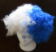 Blue and White Afro Wig.